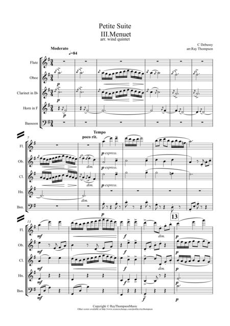 Debussy: Petite Suite Mvt.3 Menuet - wind quintet