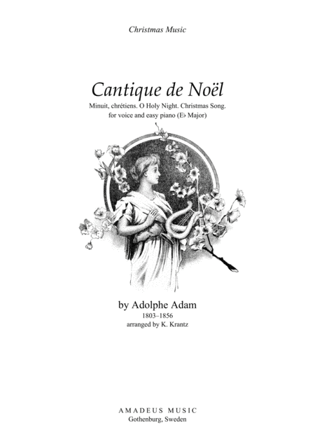 O Holy Night / Cantique de noël for voice and easy piano (Eb Major)