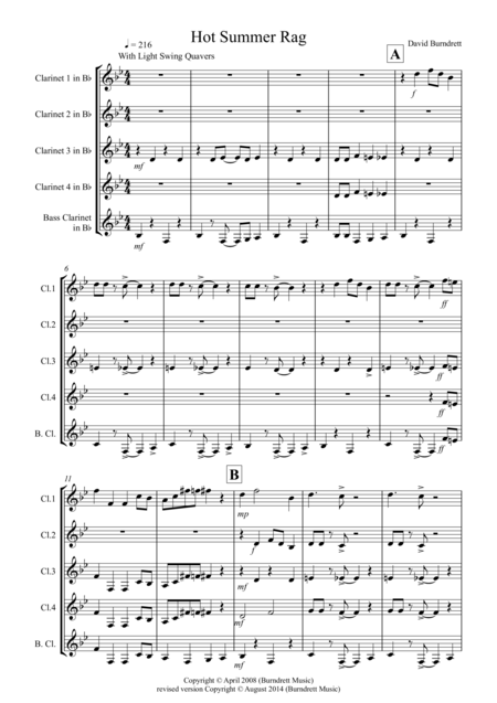 Hot Summer Rag for Clarinet Quintet