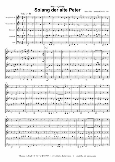 Solang der alte Peter – Oktoberfest – Munich City anthem - Brass Quintet