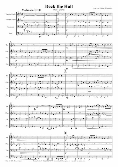 Deck the halls - Christmas Carol - Polyphonic - Brass Quartet