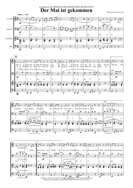 Der Mai ist gekommen - Quartet – Bavarian style – bugle, baritone horn, tuba, accordion