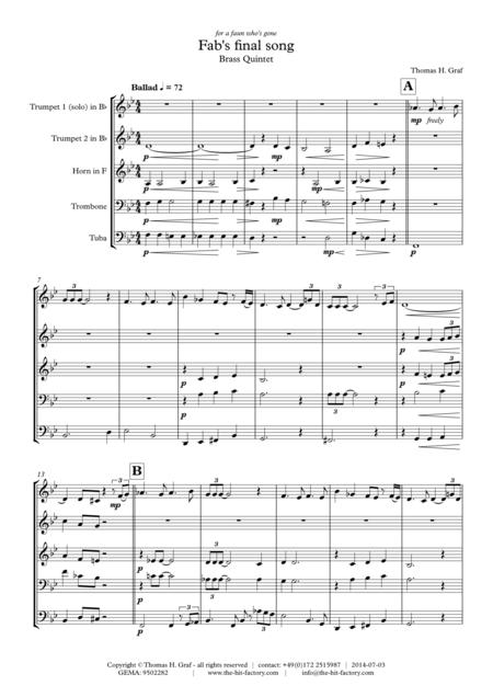 Fab's final song - Ballad - Brass Quintet