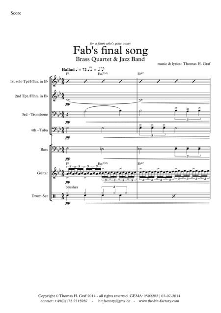 Fab's final song - Ballad - Brass Quartet plus Jazz Trio