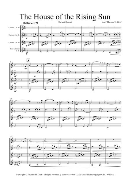 The house of the rising sun - Clarinet Quartet