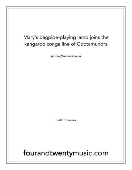 Mary's bagpipe playing lamb joins the kangaroo conga line of Cootamundra