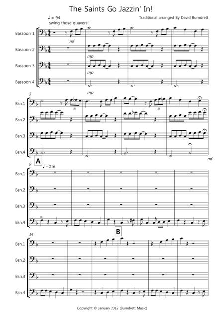 The Saints Go Jazzin' In! for Bassoon Quartet