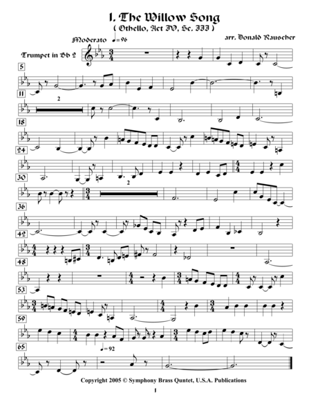 Shakespearean Music for Brass Quinte - 1. The Willow Song - Othello (2nd Trumpet)