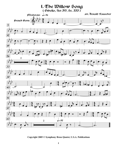 Shakespearean Music for Brass Quintet - 1. The Willow Song - Othello (French Horn)