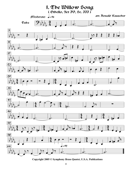 Shakespearean Music for Brass Quintet - 1. The Willow Song - Othello (Tuba)