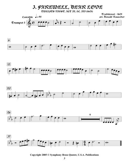 Shakespearean Music for Brass Quintet -  3. Farewell, Dear Love - Tweltfh Night (Trumpet 1)