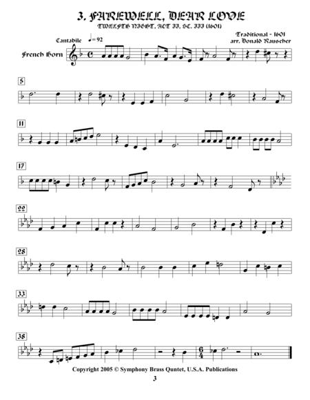 Shakespearean Music for Brass Quintet - 3. Farewell, Dear Love - Twelfth Night (French Horn)