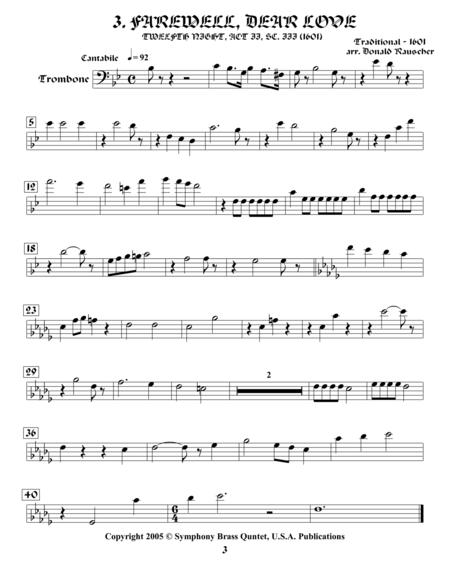 Shakespearean Music for Brass Quintet - 3. Farewell, Dear Love - Twelfth Night (Trombone)