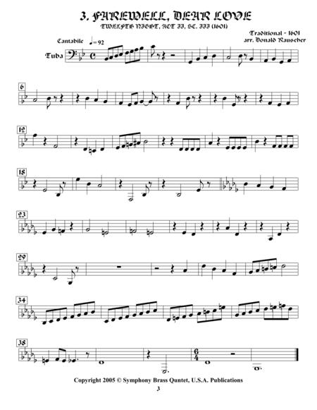 Shakespearean Music for Brass Quintet - 3. Farewell, Dear Love - Twelfth Night (Tuba)