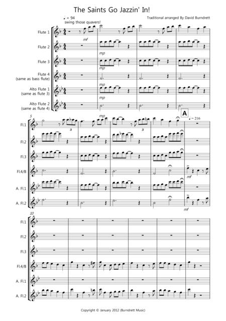 The Saints Go Jazzin' In! for Flute Quartet