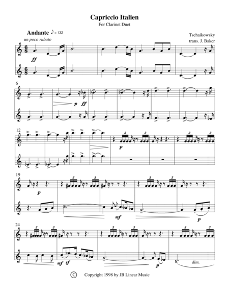 Capriccio Italien for clarinet duet (Tchaikowsky)