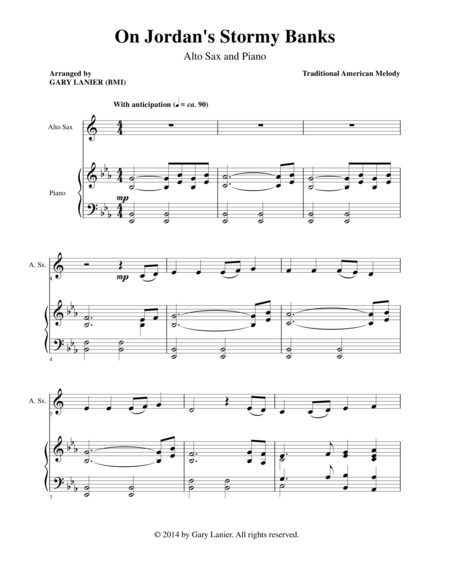 ON JORDAN'S STORMY BANKS (Alto Sax Piano and Alt Sax Prt)