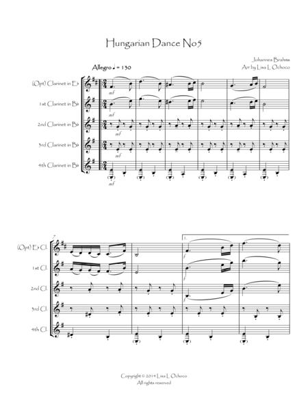 Hungarian Dance No5 for Clarinet Quartet