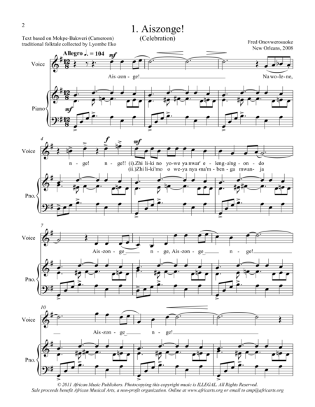 Twelve African Songs for Solo Voice and Piano - 1. AISZONGE (Celebration)