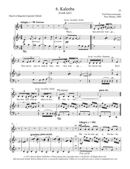 Twelve African Songs for Solo Voice and Piano - 6. KALEEBA (Look out!)