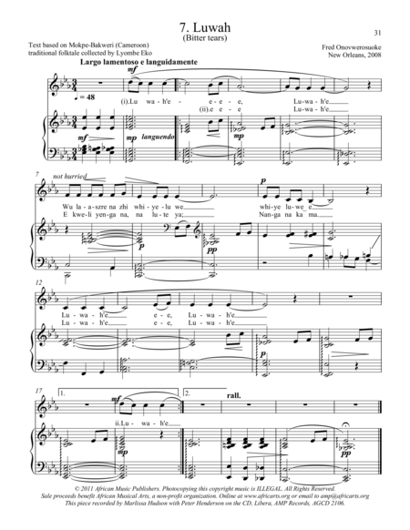 Twelve African Songs for Solo Voice and Piano - 7. LUWAH (Bitter Tears)