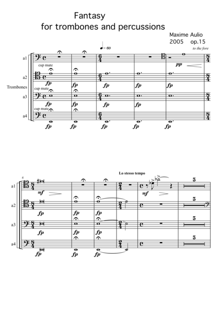 Fantasy for trombones & percussion - set of parts