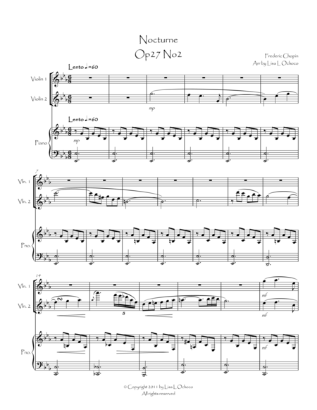 Nocturne Op27 No2 for Violin Duet and Piano