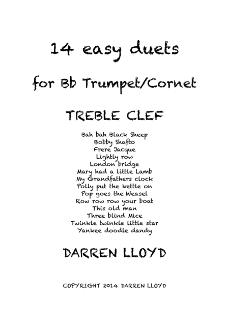 Trumpet Duets! 14 Easy duets or Bb Trumpet or Cornet