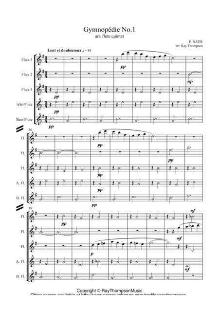 Satie: Gymnopedie No.1- flute quintet