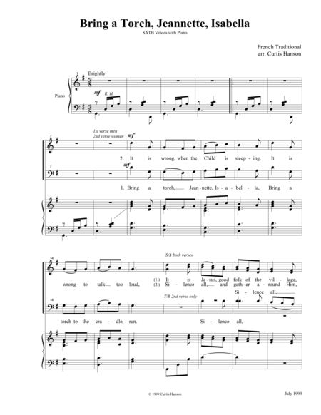Bring a Torch, Jeannette, Isabella (SATB)