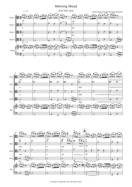 Morning Mood (from Peer Gynt) for Viola Quartet