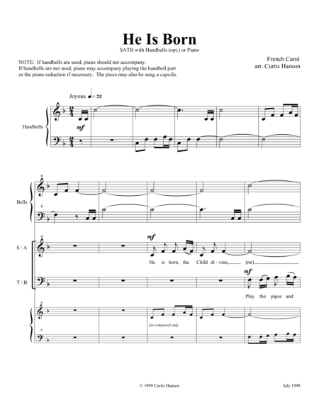 He Is Born (SATB)