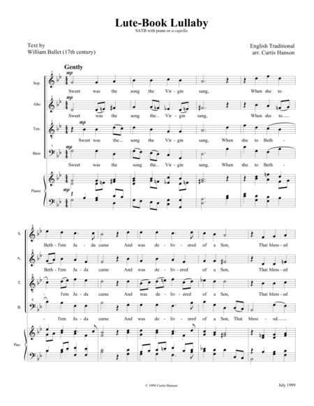 Lute-Book Lullaby (SATB)