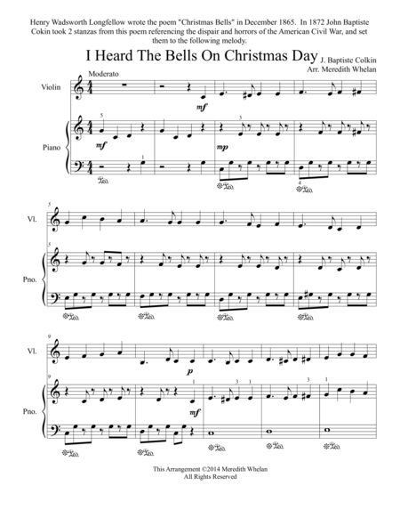Christmas Duets for Violin & Piano:  I Heard the Bells on Christmas Day