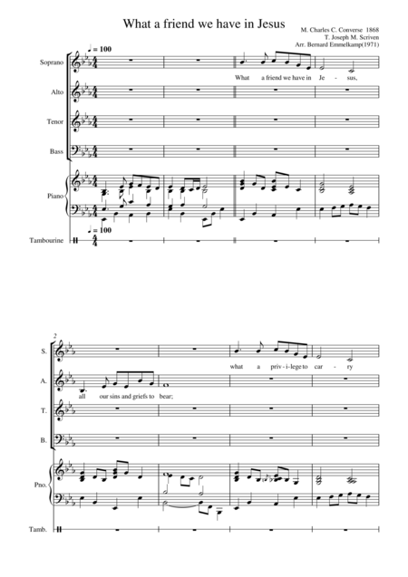 What a friend we have in Jesus for choir(SATB), piano and tambourine
