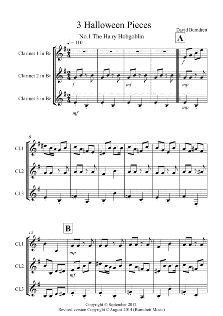 3 Halloween Pieces for Clarinet Trio