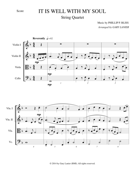 It Is Well With My Soul (String Quartet Score and Parts)
