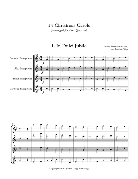 14 Christmas Carols (arranged for Sax Quartet SATB)