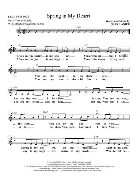 SPRING IN MY DESERT (Lead Sheet with melody, lyrics and chords)