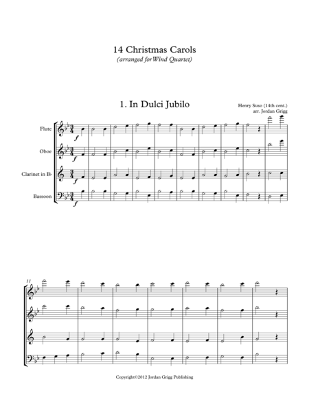 14 Christmas Carols (arranged for Wind Quartet)