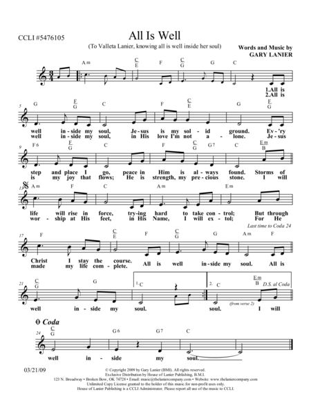 ALL IS WELL (Lead Sheet with mel, lyrics, and chords)