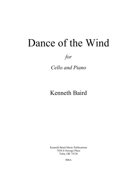 Dance of the Wind (for Cello with Piano Accompaniment)
