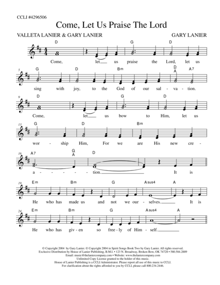COME LET US PRAISE THE LORD (Lead Sheet with mel, lyrics and chords)