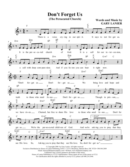 Don't FORGET US (Lead Sheet with mel, lyrics and chords)