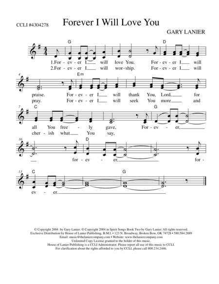 FOREVER I WILL LOVE YOU (Lead Sheet mel, lyrics and chords)