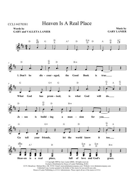 Download Heaven Is A Real Place Lead Sheet With Mel Lyrics And Chords Sheet Music By Gary