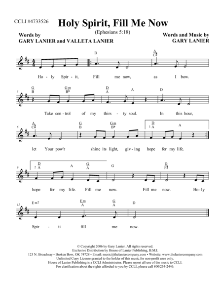 HOLY SPIRIT FILL ME NOW (Lead Sheet with mel, lyrics and chords)