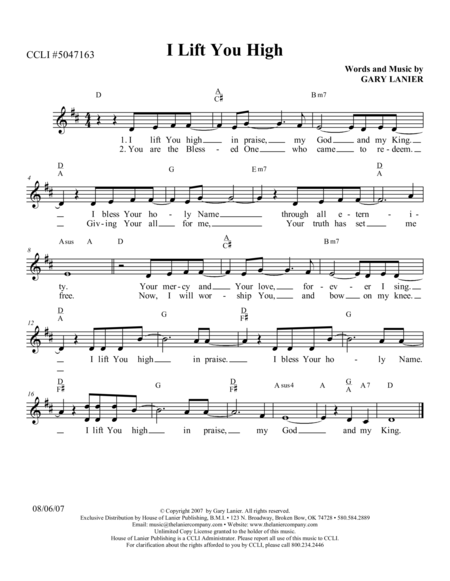 I LIFT YOU HIGH (Lead Sheet with mel, lyrics, and chords)