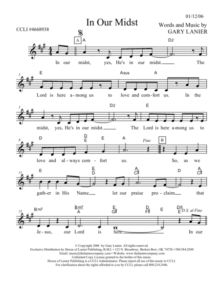 IN OUR MIDST (Lead Sheet with mel, lyrics and chords)