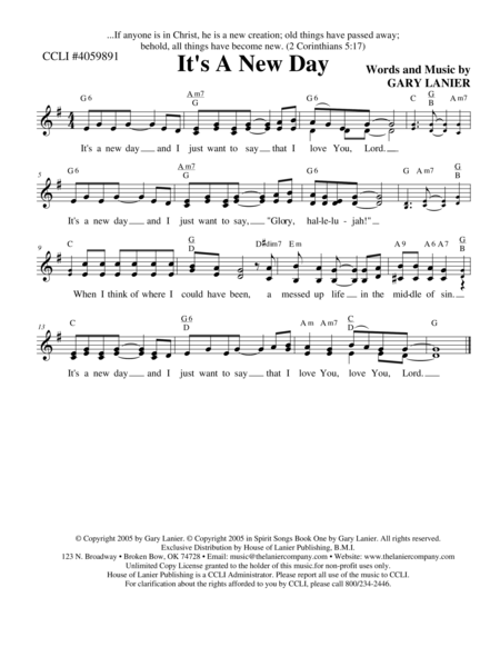 IT'S A NEW DAY (Lead Sheet with mel, lyrics and chords)